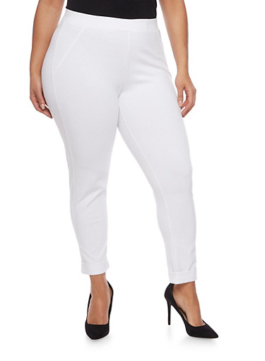 Plus Size Stretch Knit Pants,WHITE,large