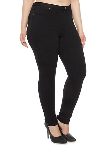 Plus Size Jeggings in Stretch Knit,BLACK,large