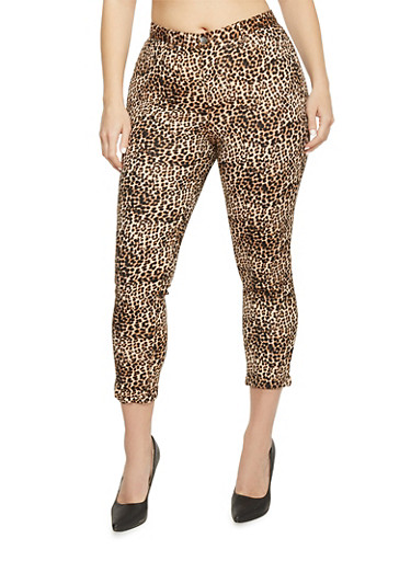 Plus Size Cropped Leopard Print Jeggings,TAN PRT,large