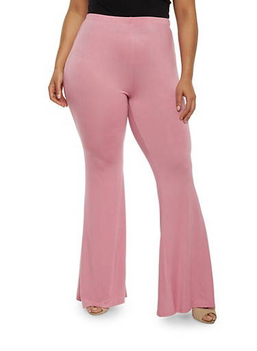 Plus Size Solid High Waisted Flared Pants,MAUVE,large