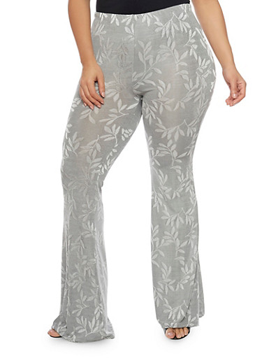 Plus Size High Waisted Flared Legs Stretch Pants,GRAY,large
