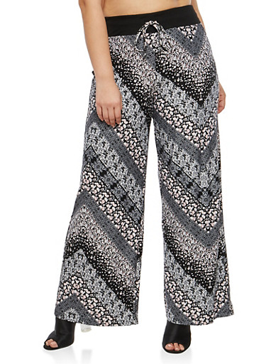 Plus Size Mixed Floral Printed Palazzo Pants,BLACK-PINK,large