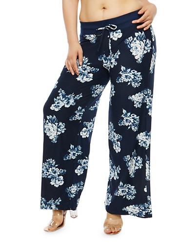 Plus Size Soft Knit Floral Print Palazzo Pants,NAVY,large