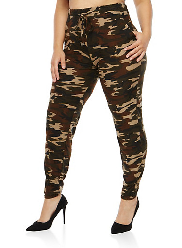 Plus Size Camo Print Sweatpants,OLIVE,large