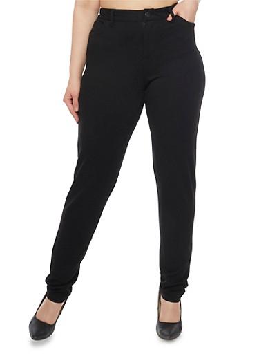 Plus Size Five Pocket Jeggings,BLACK,large