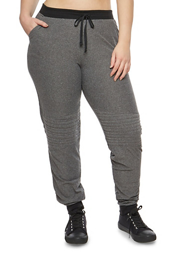 Plus Size Soft Knit Moto Detail Sweatpants,GRAY,large