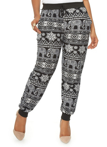 Black and white plus size pants