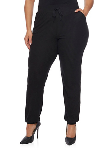 Plus Size Rib Knit Joggers,BLACK,large