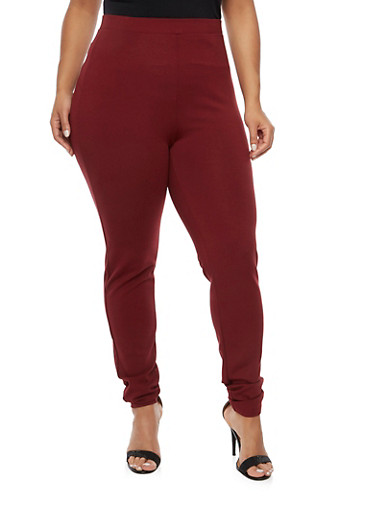 Plus Size Stretch Fabric Pants,BURGUNDY,large