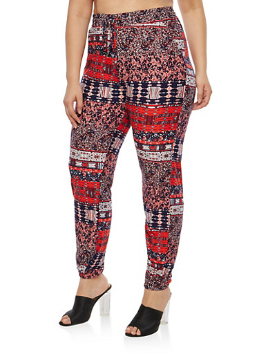 Plus Size Mixed Print Soft Knit Joggers,RED/NANY,large