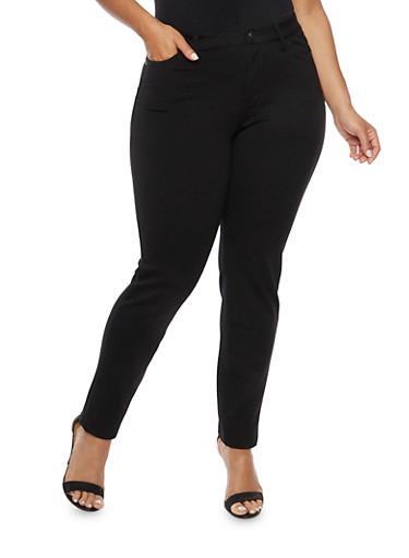 Plus Size Stretch Knit Skinny Pants,BLACK,large