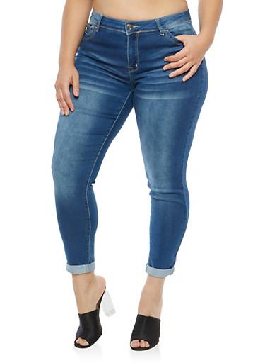 Plus Size Whisker Wash Skinny Jeans,MEDIUM WASH,large