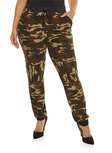 Plus Size Camouflage Moto Sweatpants,OLIVE,large