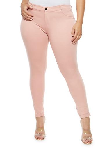 Plus Size Cuffed Knit Pants,MAUVE,large
