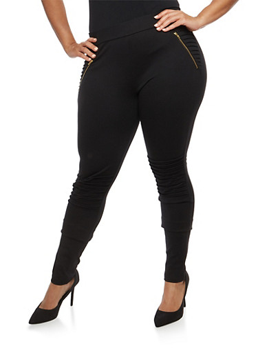 Plus Size Moto Jeggings,BLACK,large