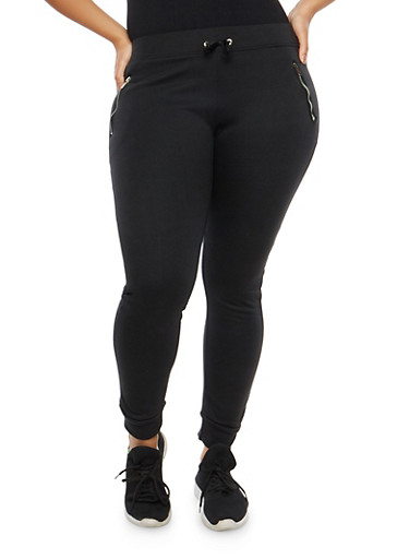 Plus Size Fleece Lined Sweatpants,BLACK,large