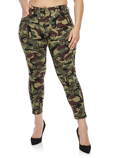 Plus Size Camo Print Jeggings,CAMOUFLAGE,large
