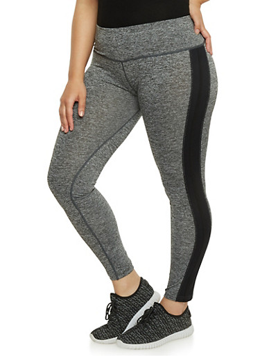 Plus Size Space Dye Activewear Leggings with Contrast Trim,BLACK,large