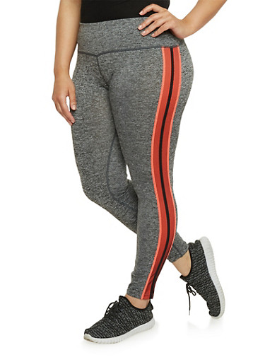 Plus Size Space Dye Activewear Leggings with Contrast Trim,CORAL,large