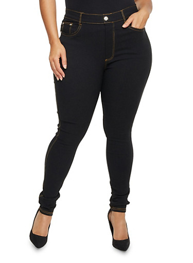 Plus Size Stretched Studded Accent Pants,BLACK,large