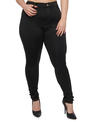 Plus Size High Waisted Crystal Button Jeggings,BLACK,large