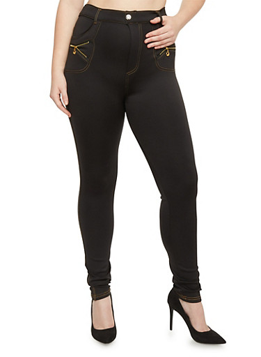 Plus Size High Waisted Scuba Knit Stretch Pants with Zipper Accents,BLACK,large