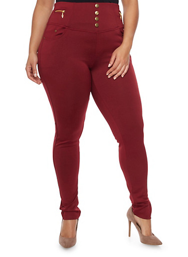 Plus Size High Waisted Skinny Pants with Zipper Accents,WINE,large
