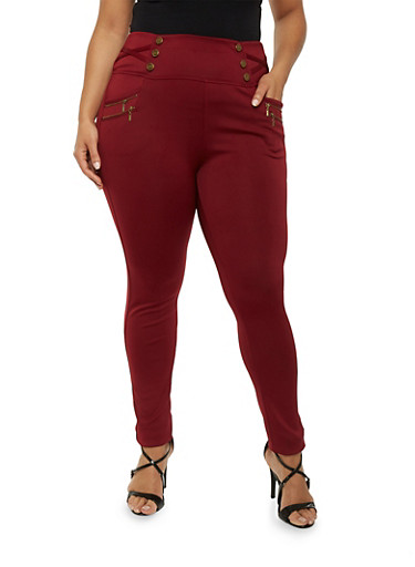 Plus Size Zipper Accented Stretch Sailor Pants,WINE,large