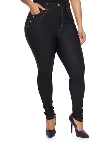 Plus Size Embellished Jeggings,BLACK,large