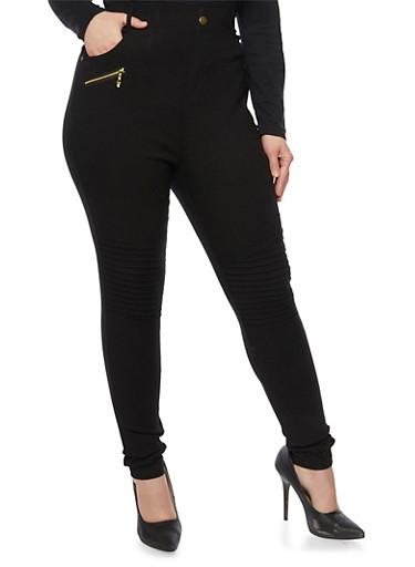 Plus Size Skinny Moto Pants,BLACK,large