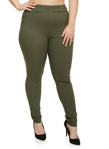 Plus Size Sailor Pants in Skinny Fit,OLIVE,large