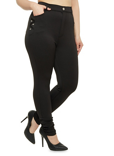 Plus Size Stretch Knit Skinny Pants,BLACK,large
