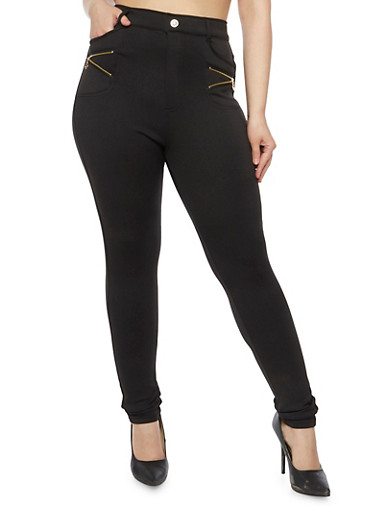 Plus Size Skinny Pants with Zipper Pockets,BLACK,large