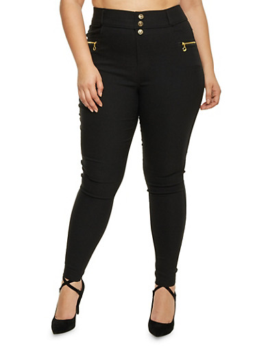 Plus Size High Waisted Zip Pocket Pants,BLACK,large