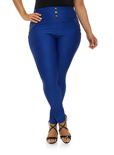 Plus Size High Waisted Zipper Stretch Pants,RYL BLUE,large