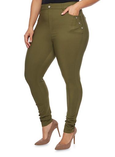 Plus Size Stretch Knit  Rhinestone Jeggings,GREEN,large