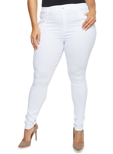 Plus Size Stretch Pants with Zipper Trim,WHITE,large