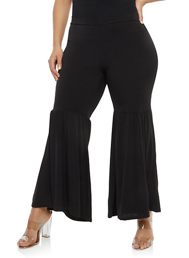 Plus Size Ruffle Bottom Pants,BLACK,large