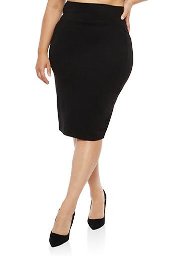 Plus Size Black Wide Waist Pencil Skirt,BLACK,large
