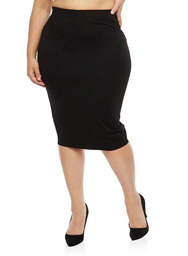 Plus Size Black Pencil Skirt,BLACK,large