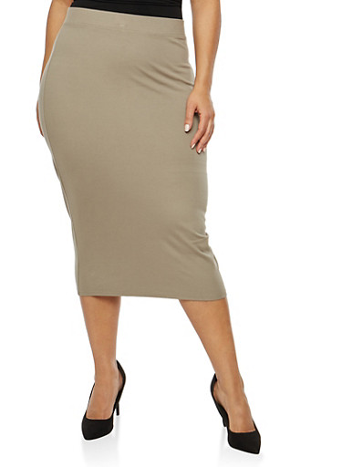 Plus Size Solid Ponte Pencil Skirt,OLIVE,large