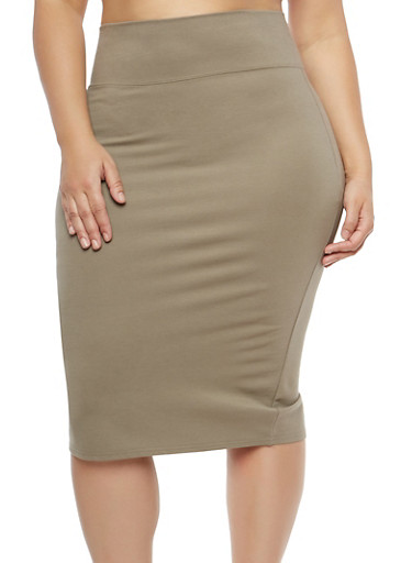 Plus Size Wide Waist Pencil Skirt,BROWN,large