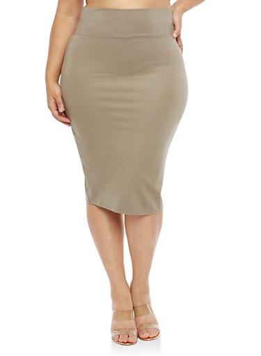 Plus Size Wide Waist Pencil Skirt,OLIVE,large