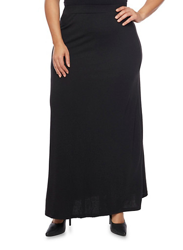 Plus Size Solid Maxi Skirt,BLACK,large