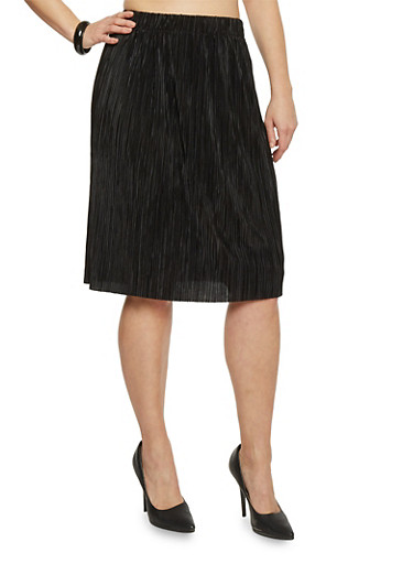 Plus Size Pleated Midi Skirt,BLACK,large