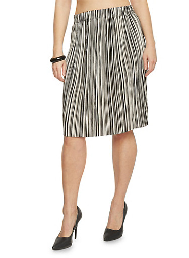 Plus Size Pleated Midi Skirt with Dual Toned Stripes,BLACK-IVORY,large