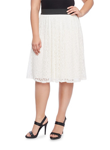 Plus Size Crochet Skater Skirt with Ribbed Waist,WHITE,large