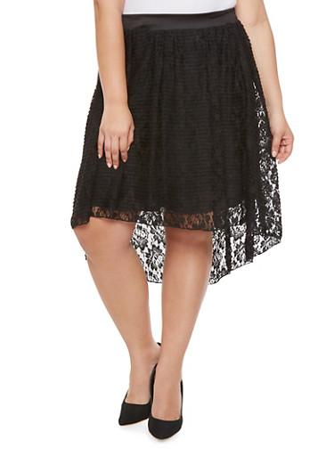 Plus Size High Low Lace Skirt,BLACK,large
