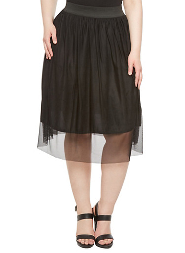 Plus Size Mesh Full Skirt,BLACK,large