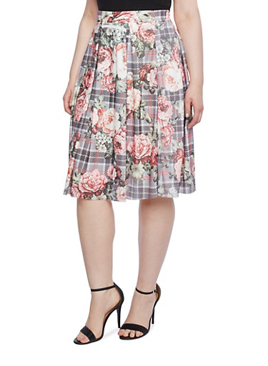 Plus Size Pleated Skirt in Plaid and Floral Prints,BLUSH-GREY,large